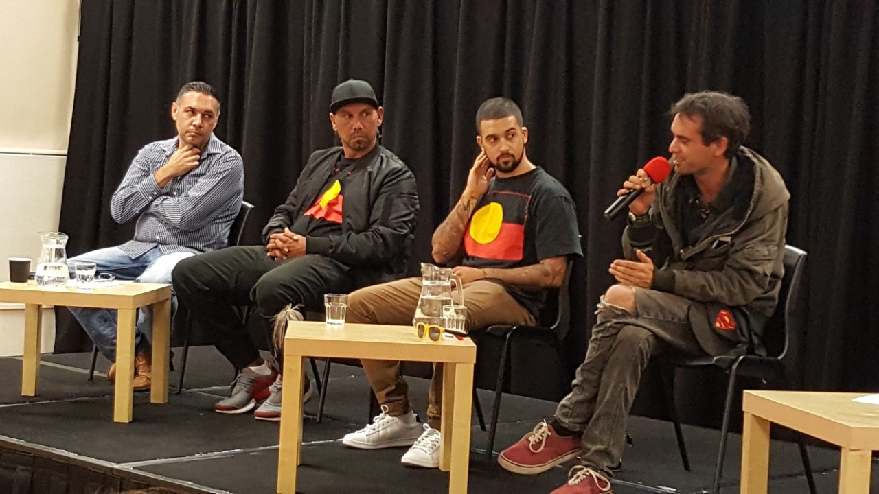 Nathan Leslie, Cameron Manning-Brown and Roxley Foley at Stop the Intervention Collective Sydney's 'Treaty: Young men speak out